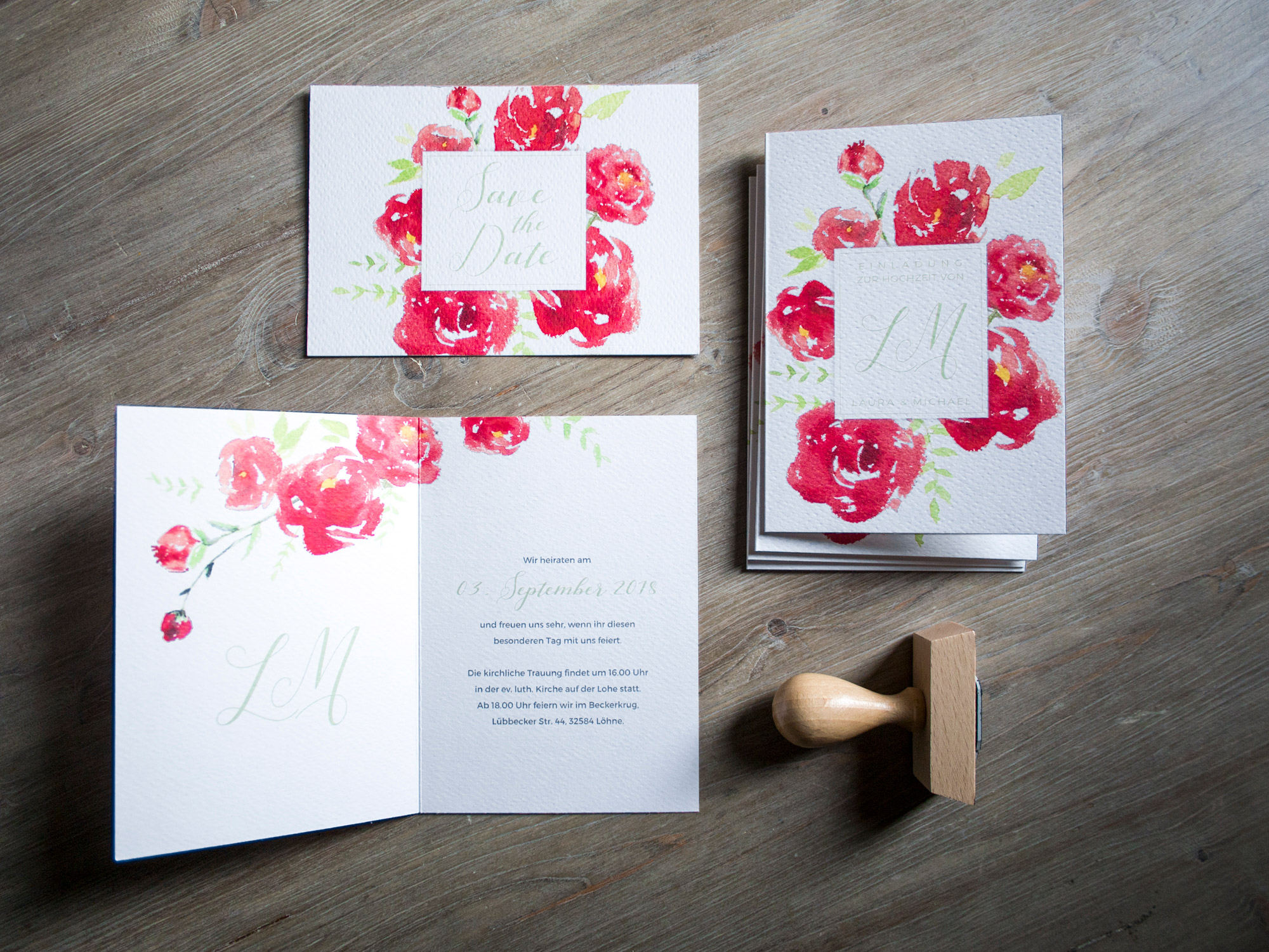 """Peony bloom"" - Einladung, Save-the-Date Karte und Stempel im Set"